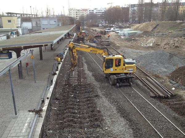 Gleiswechsel für die Fernzüge zum RAW an der Warschauerstraße