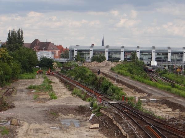 Vorbereitungen für den Gleisbau zwischen Ostkreuz und Ostbahnhof