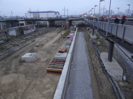 Nördliche Bahnsteigkante Bahnsteig B Warschauer Straße