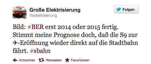 Twitter Zitat zur Eröffnung des Airports BER