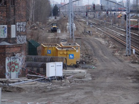 Blick auf der Trasse Richtung Warschauer Straße