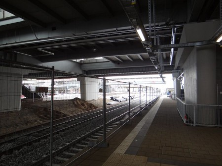 Für das zweite Gleis entsteht später ein weiterer Bahnsteig