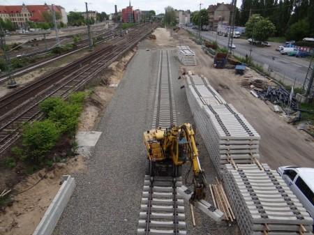 Gleisbau an der neuen Fernbahntrasse