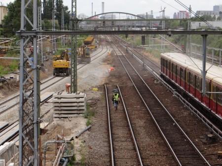 Gut zu erkennen, der Anschluss an die bestehenden Gleise