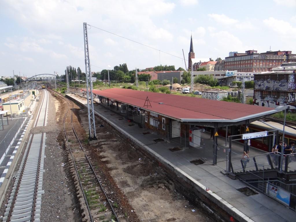 Arbeiten an der Bahnsteigbeleuchtung