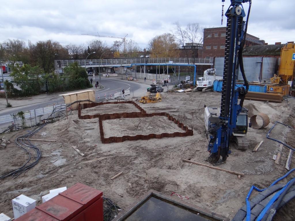 Baugruben für die Brückenpfeiler