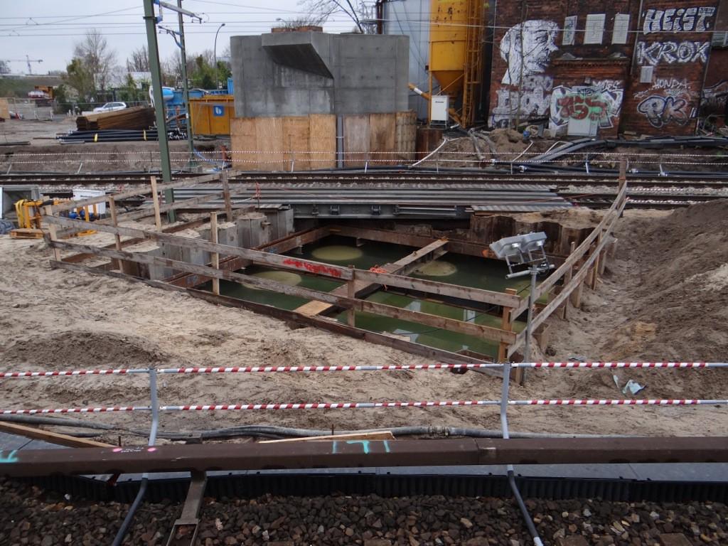 Baugrube Brückenpfeiler