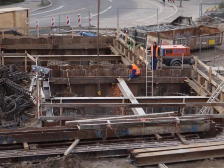 Fundamente für die Brückenpfeiler am Markgrafendamm