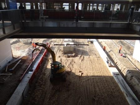 Fundament südliche Bahnsteigkante Bahnsteig D