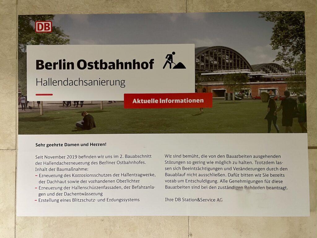 Baustellenschild Hallendachsanierung Berlin Ostbahnhof